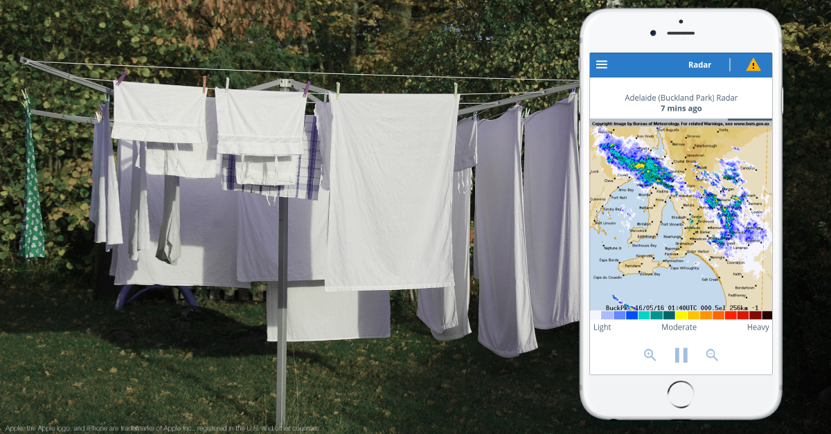 Washing on the line and BOM Weather app