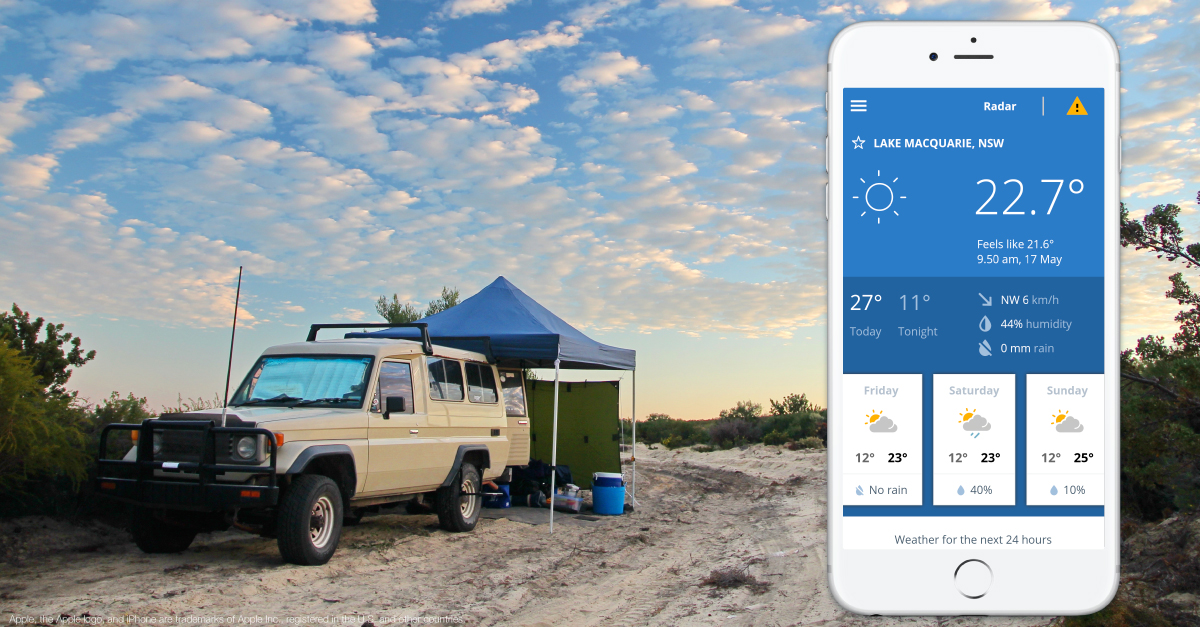 Camping and BOM Weather app