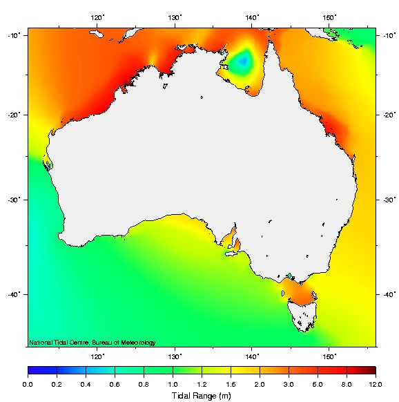 Map showing average tidal range at spring tides around Australia