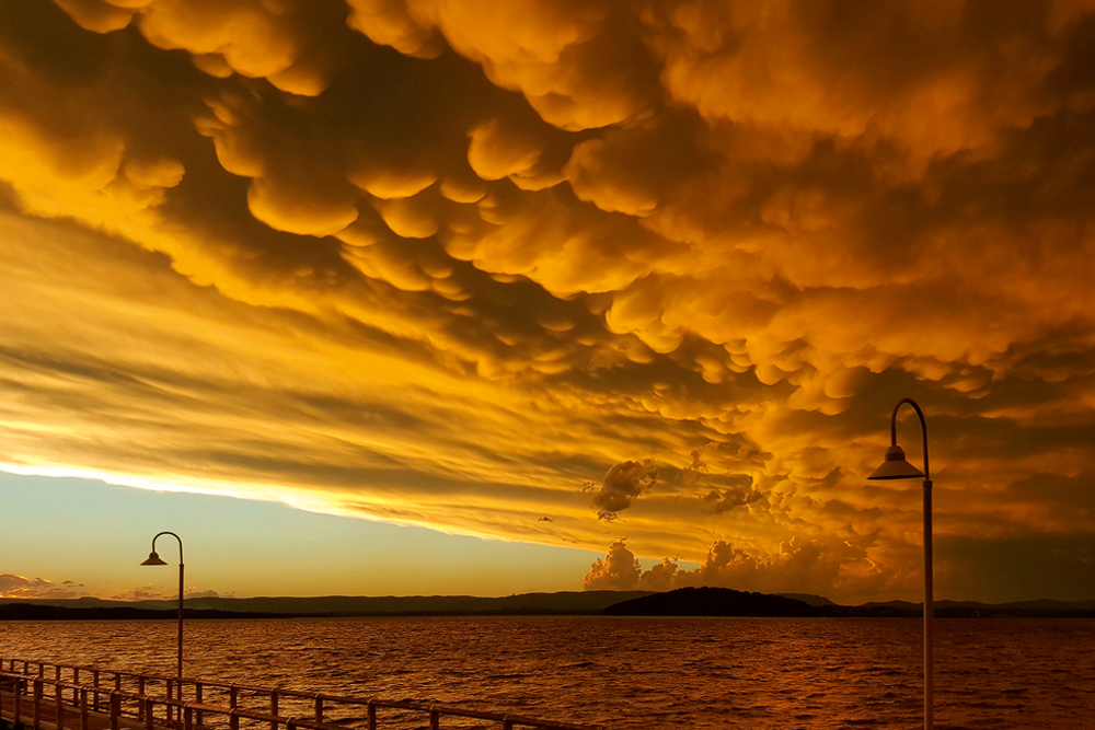 Bobbly grey mammatus cloud hangs down from a yellow sunset sky over the sea, with street lamps in the foreground.