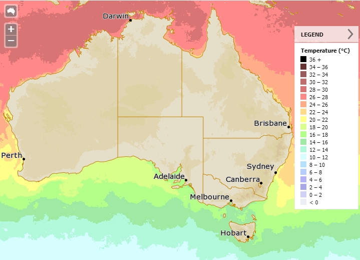 Map showing sea surface temperatures around Australia  on 1 June 2018.