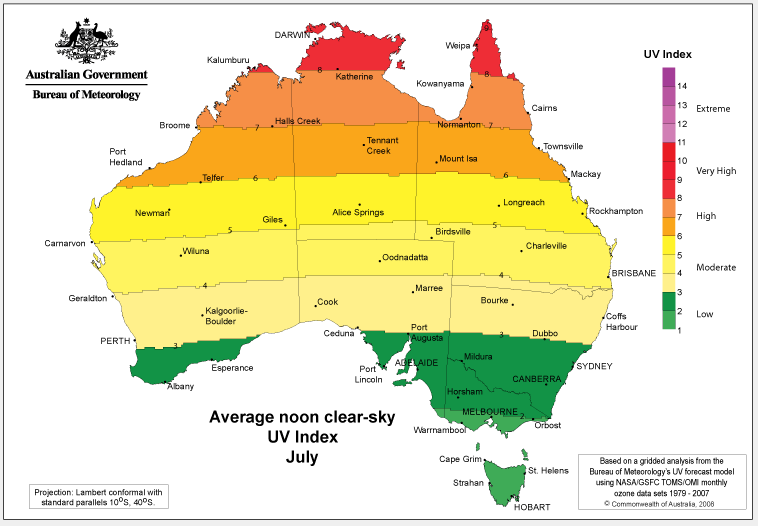 Map of Australia showing the average UV level recorded across the country in July.