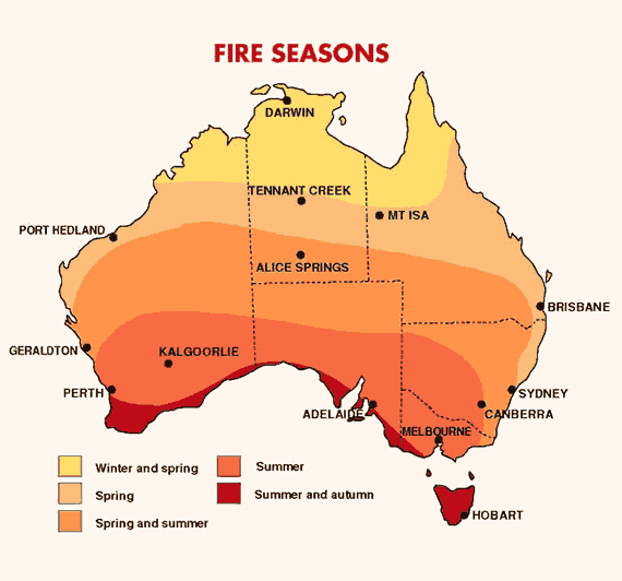 Map of Australia showing which parts of Australia experience their fire season at which time of year.