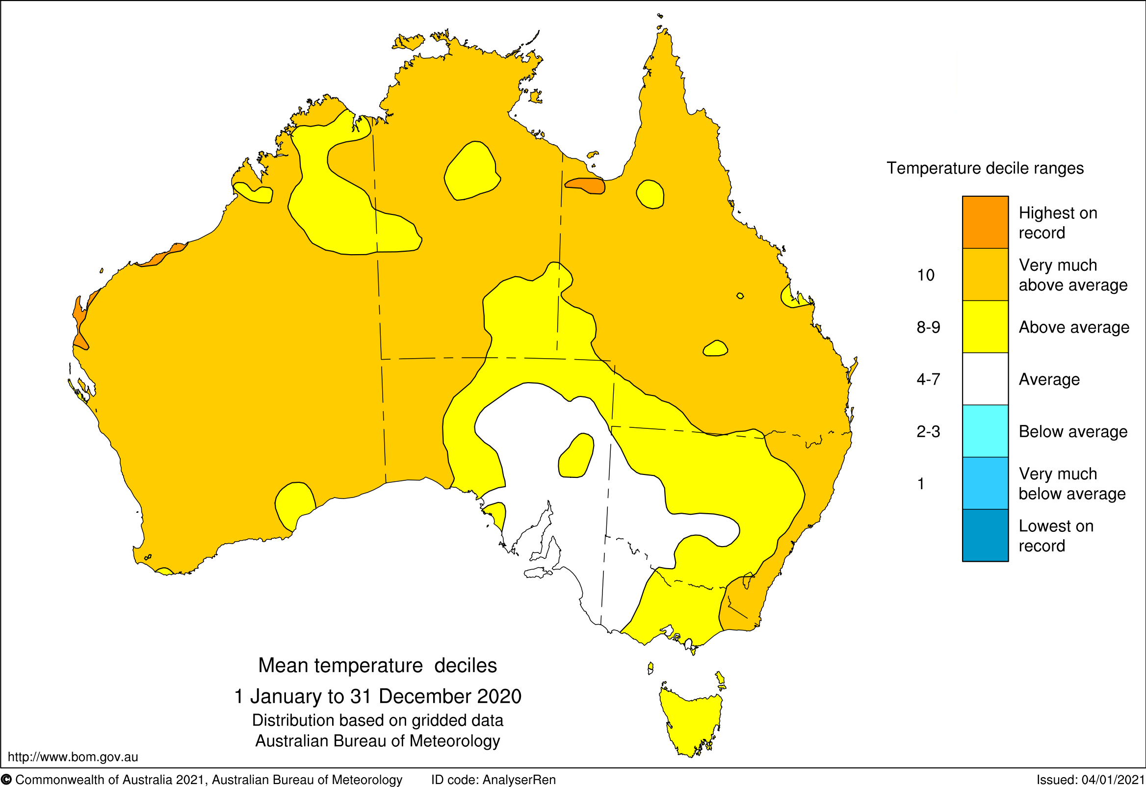 Map of Australia showing mean temperature deciles as warmer than average for most of Australia, as described in the text.