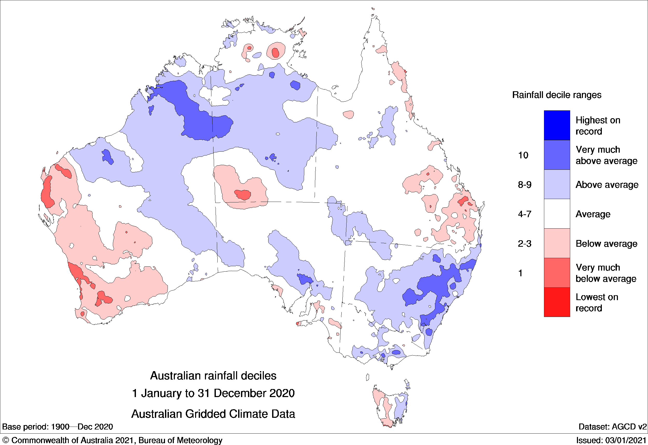 Map of Australia showing rainfall deciles for 2020 as described in text.