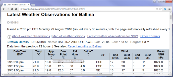 Ballina NSW latest weather observations page (http://www.bom.gov.au/products/IDN60801/IDN60801.94596.shtml) (