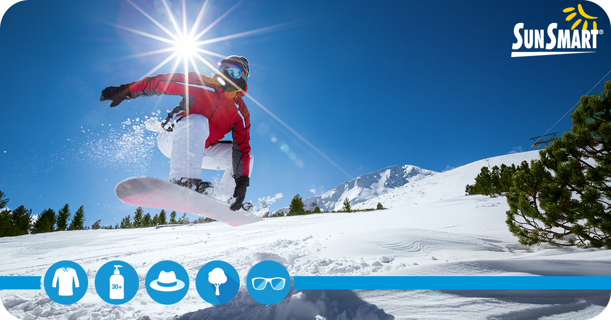 Image showing someone snowboarding on a sunny day with icons promoting sun protection (such as sunglasses, sunscreen and clothing).