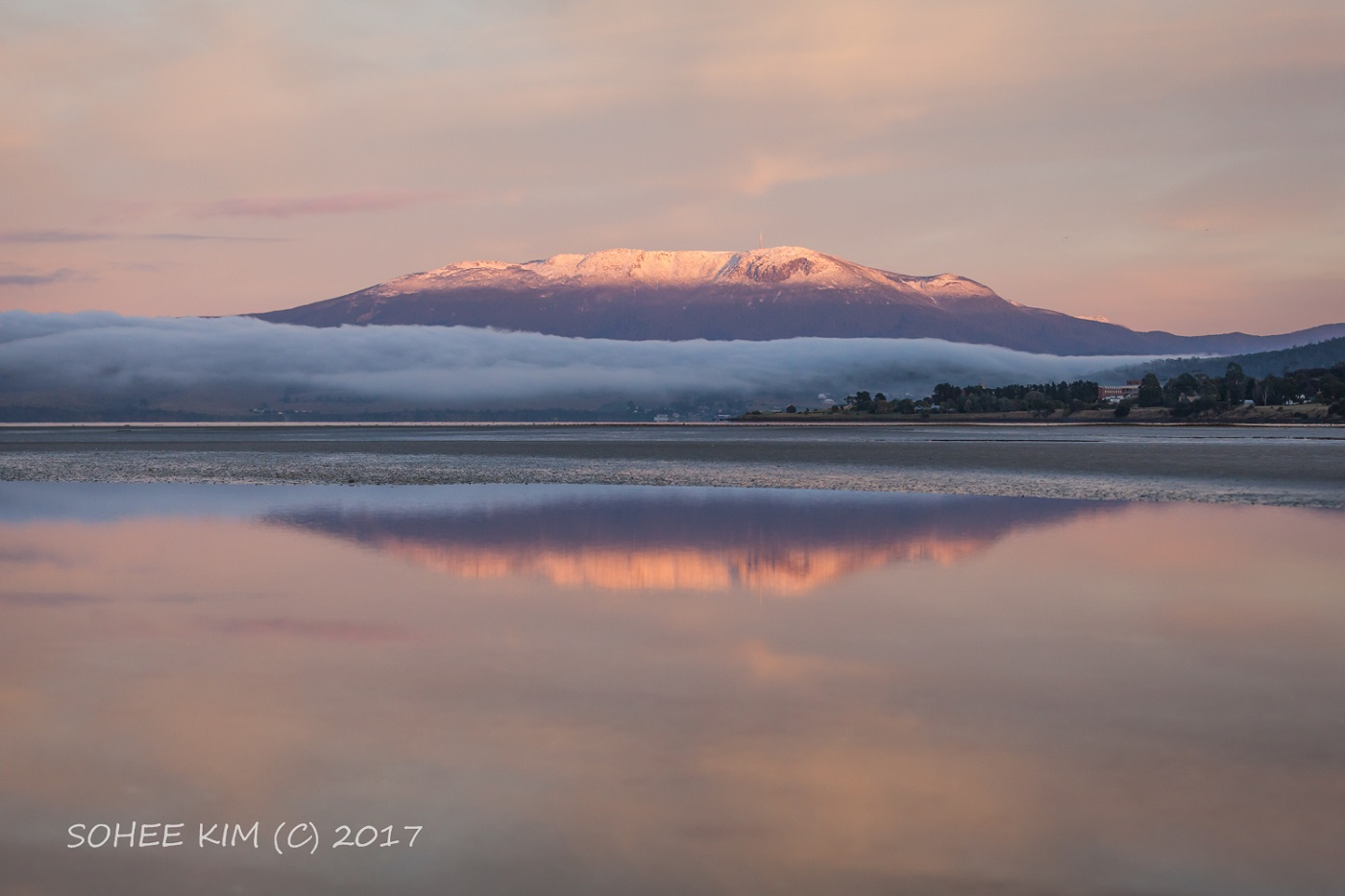 Softly-lit Derwent river in the foreground with a thick blanket of fog and Mt Wellington rising above it.
