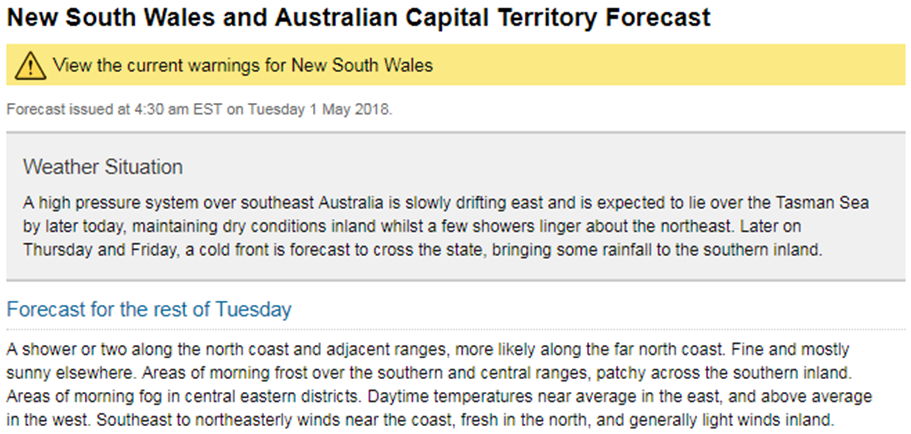 Web screen shot showing State Forecast