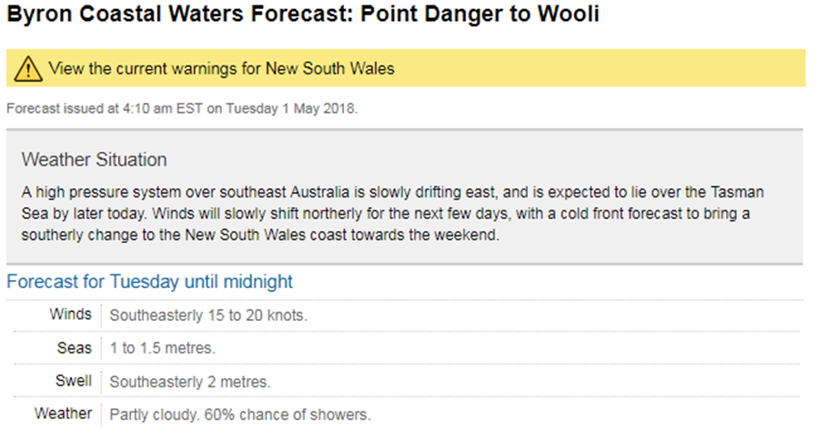 Web screen shot of a coastal waters forecast