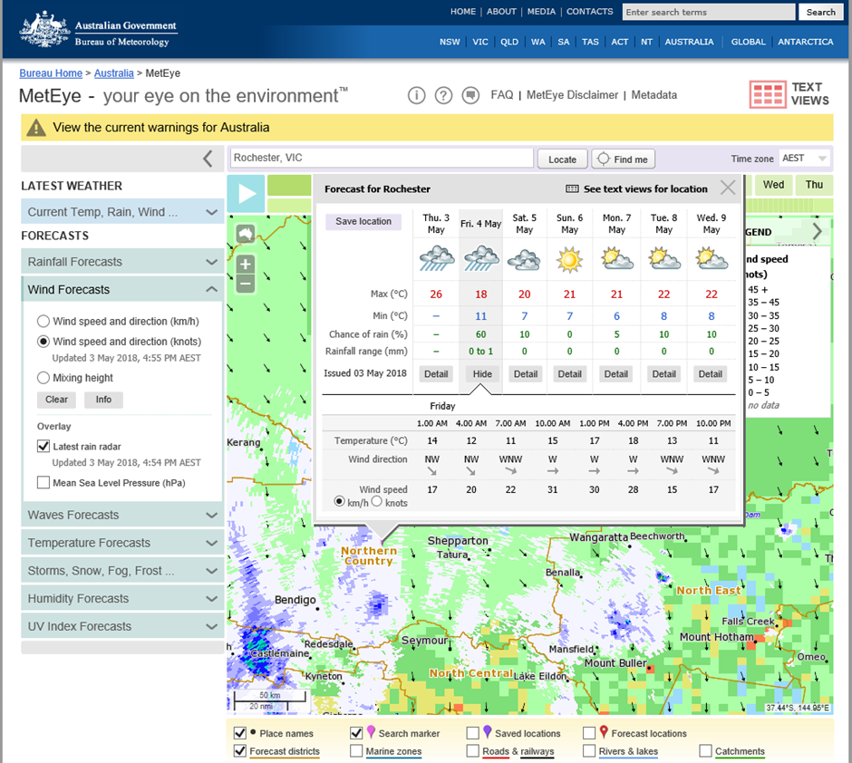 Web screen shot of a MetEye forecast