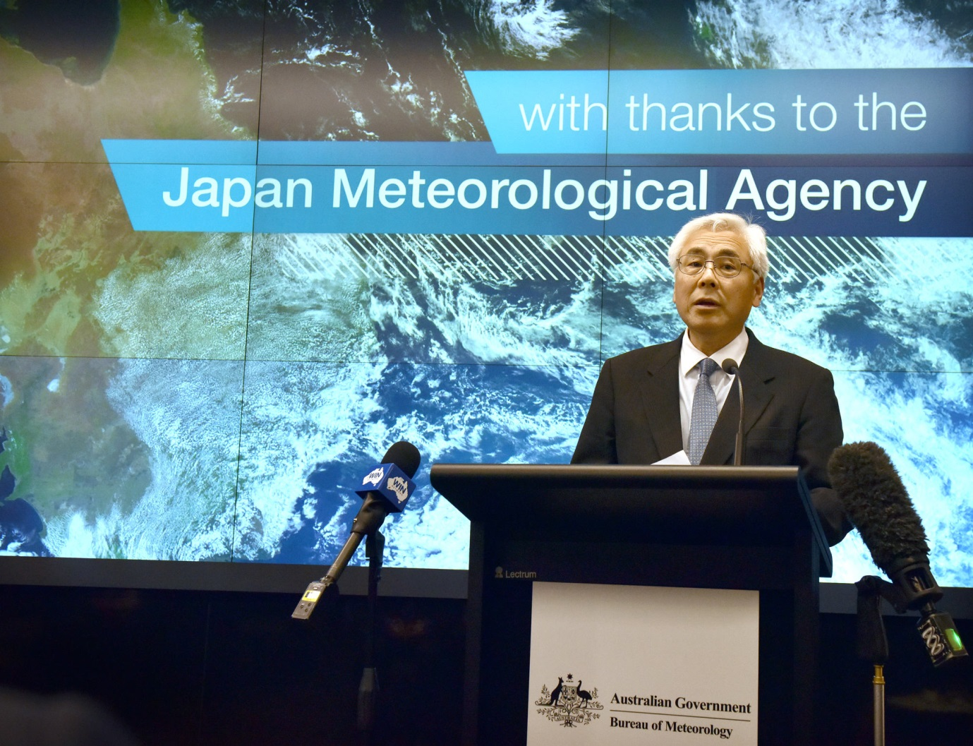 Japanese Ambassador to Australia Sumio Kusaka at the launch of the Bureau's new satellite viewer
