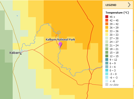 MetEye weather forecast showing temperature difference between Kalbarri on the coast (27 to 30 °C) and Kalbarri National Park (36–39 °C) further inland.