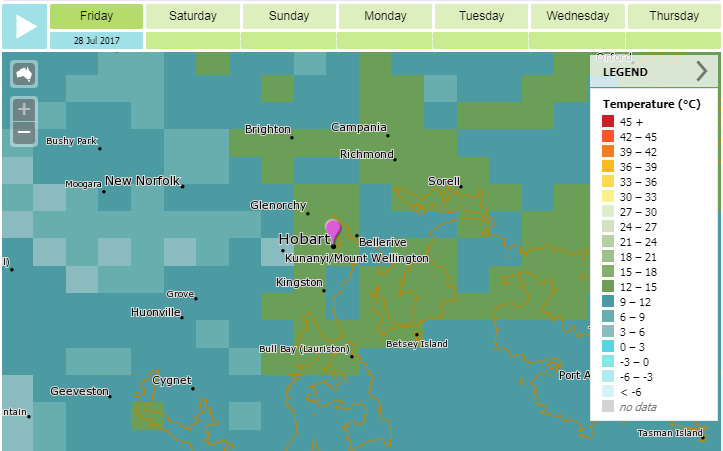 Image: Three-hourly forecast for temperature (map view)