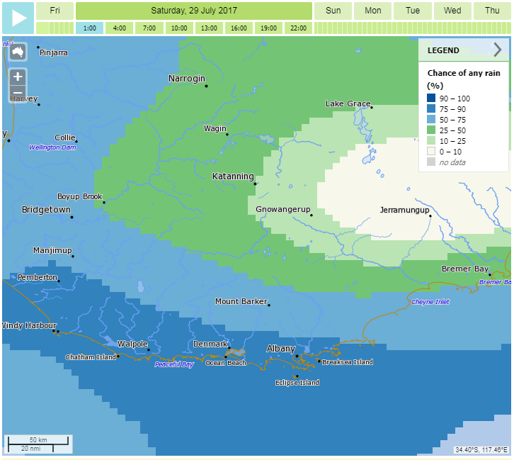 Image: Chance of rain with place names, rivers and lakes, and catchments visible