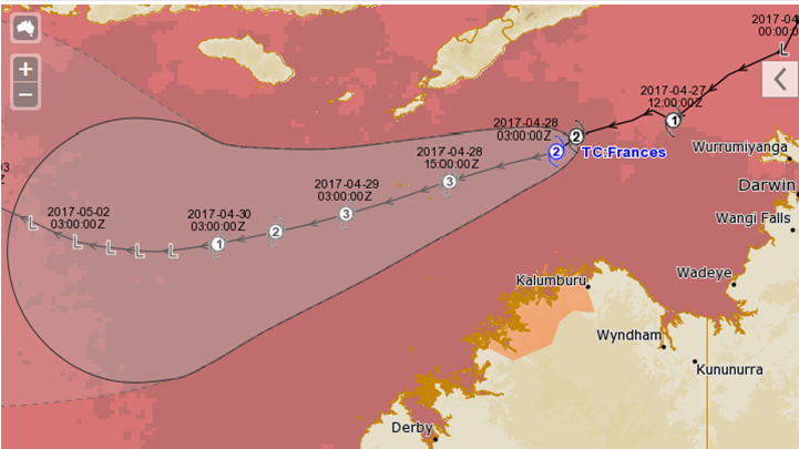 Image: Tropical cyclone track map overlaid on current sea surface temperatures