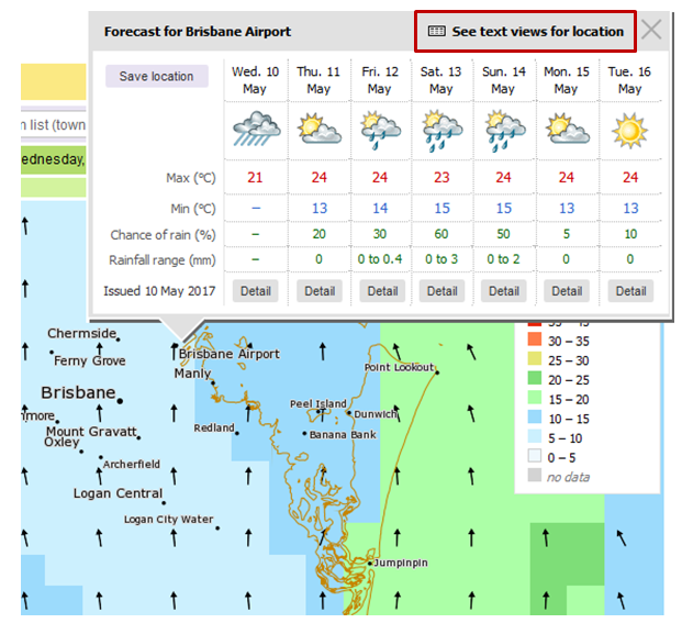 Image: Finding the expanded text view with detailed forecast information
