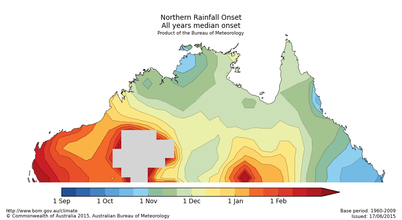 Map of median dates for northern rainfall onset, 1960–2009