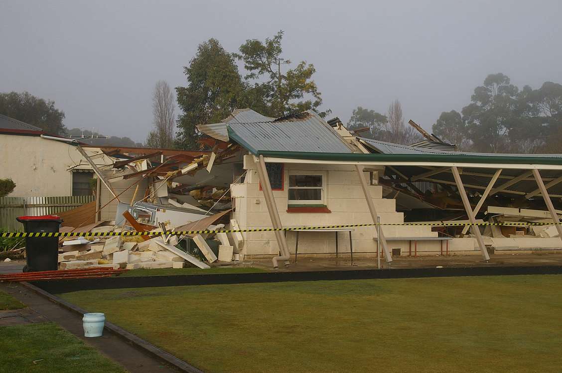 Damage to the Penola Bowling Club following a cool season tornado 31 July 2016