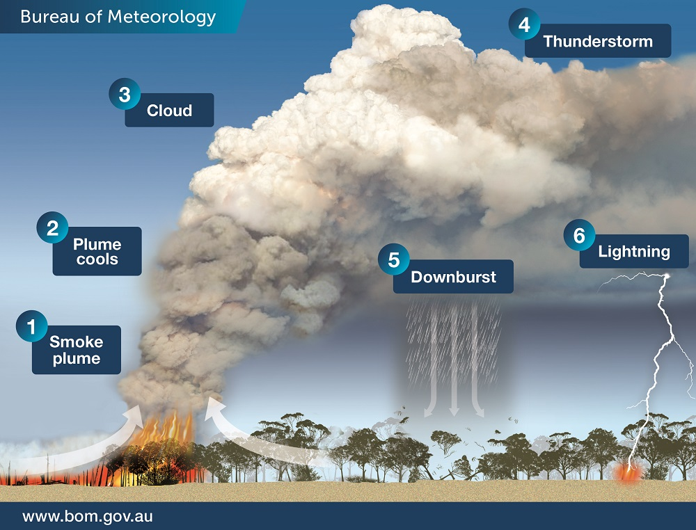 Diagram of fire and smoke plume burning across a landscape with labels corresponding to the text explanation.