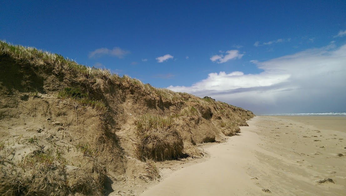 An eroded cliff rises abruptly from a flat, sandy beach under a blue and partially cloudy sky.