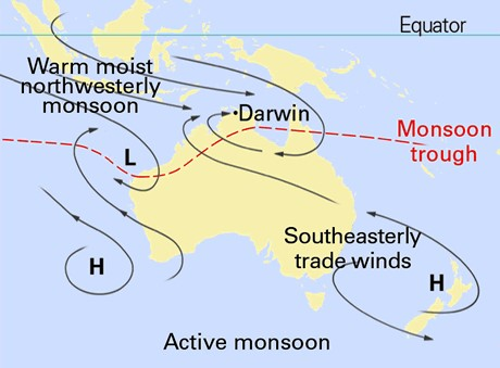 Map showing the synoptic patterns of the monsoon.