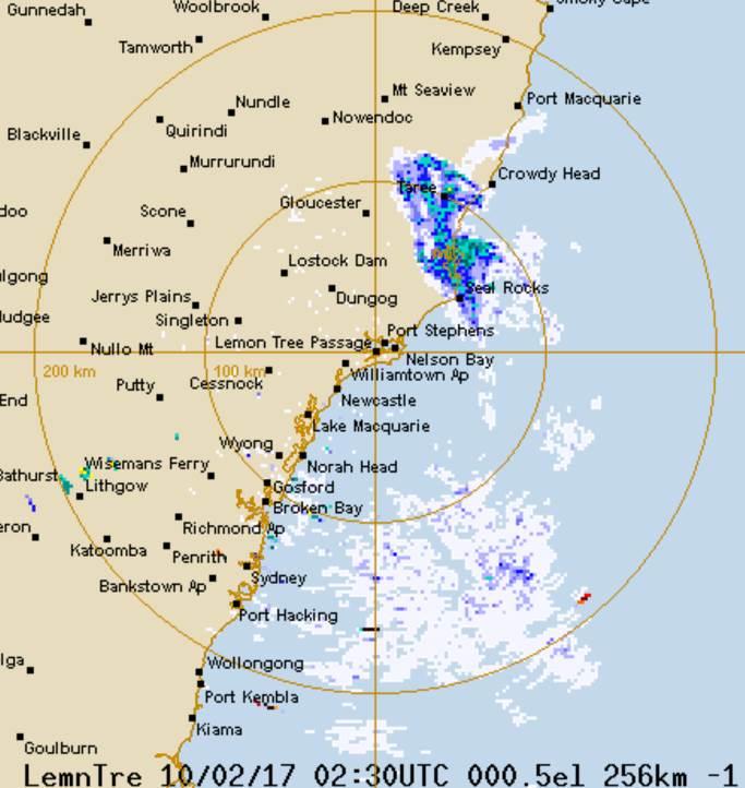 Radar image showing rain on NSW coast 10 February 2017