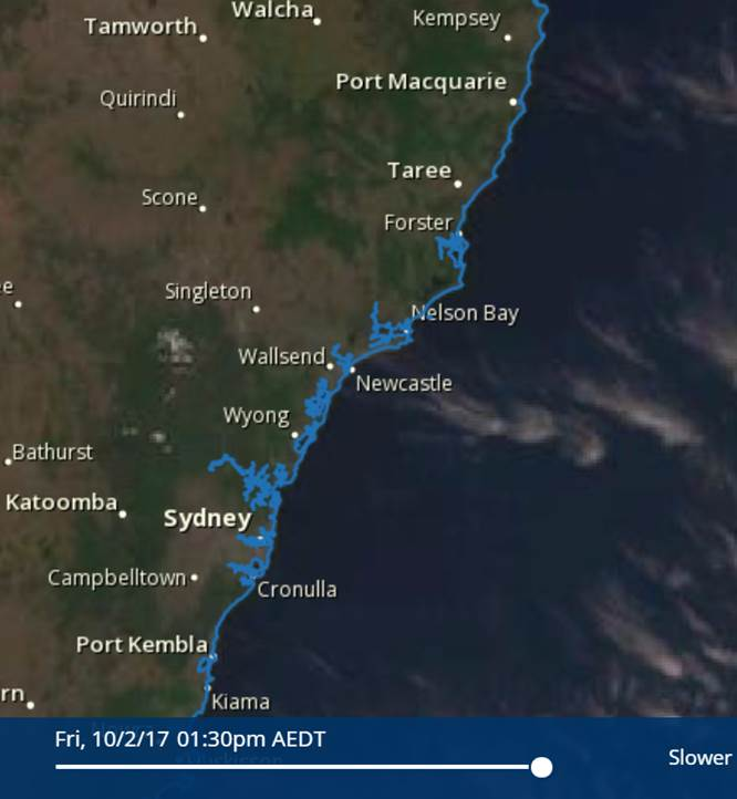 Satellite image of NSW coast 10 February 2017.