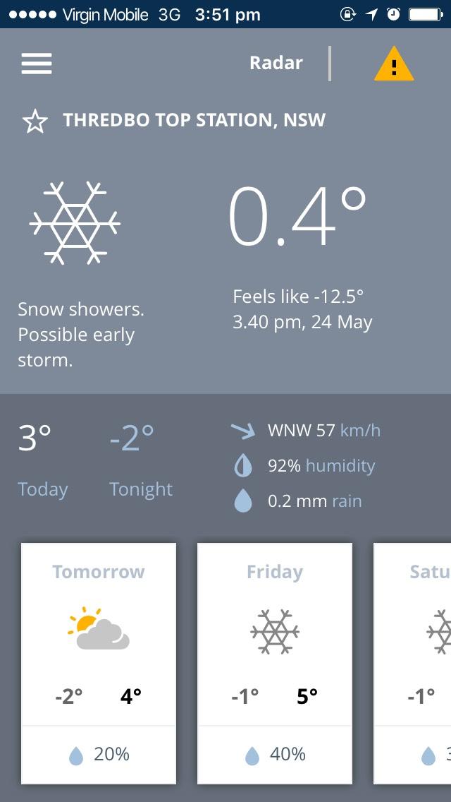 BOM Weather app screen shot