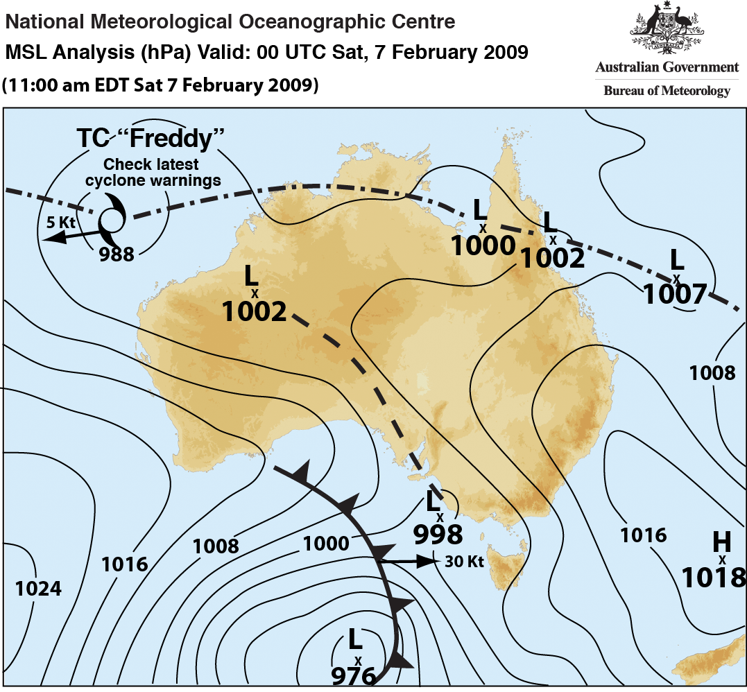 Synoptic chart/weather map for Black Saturday. Description in caption.