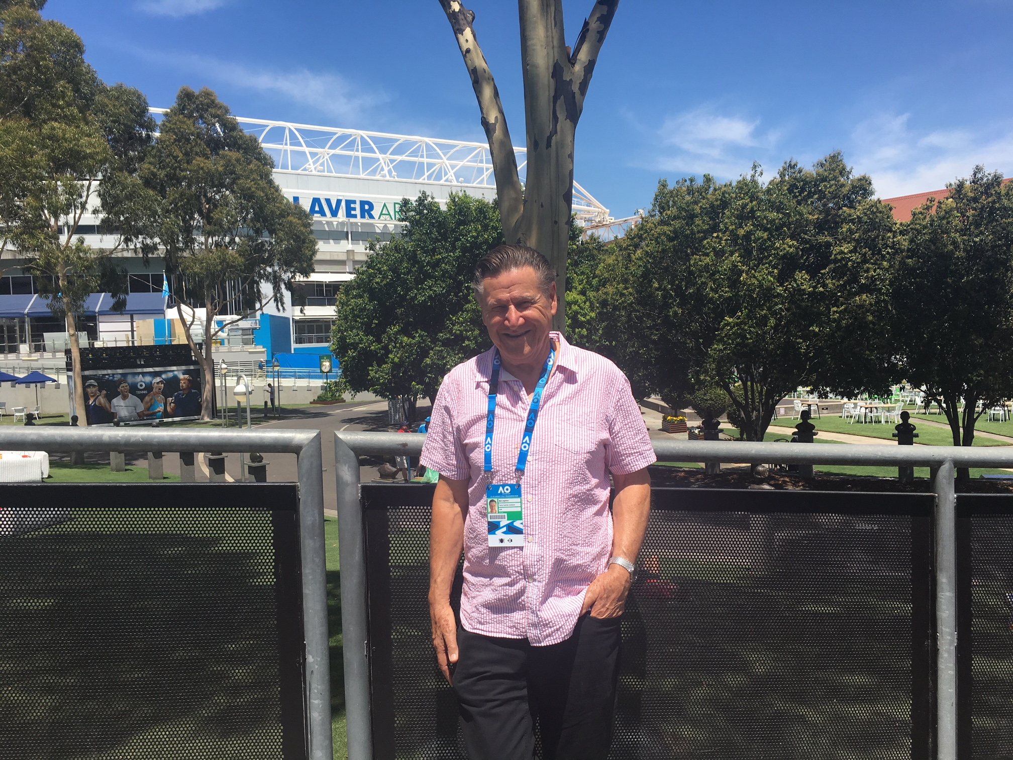 Image: Bob Leighton, Australian Open meteorologist, outside the Rod Laver Arena.