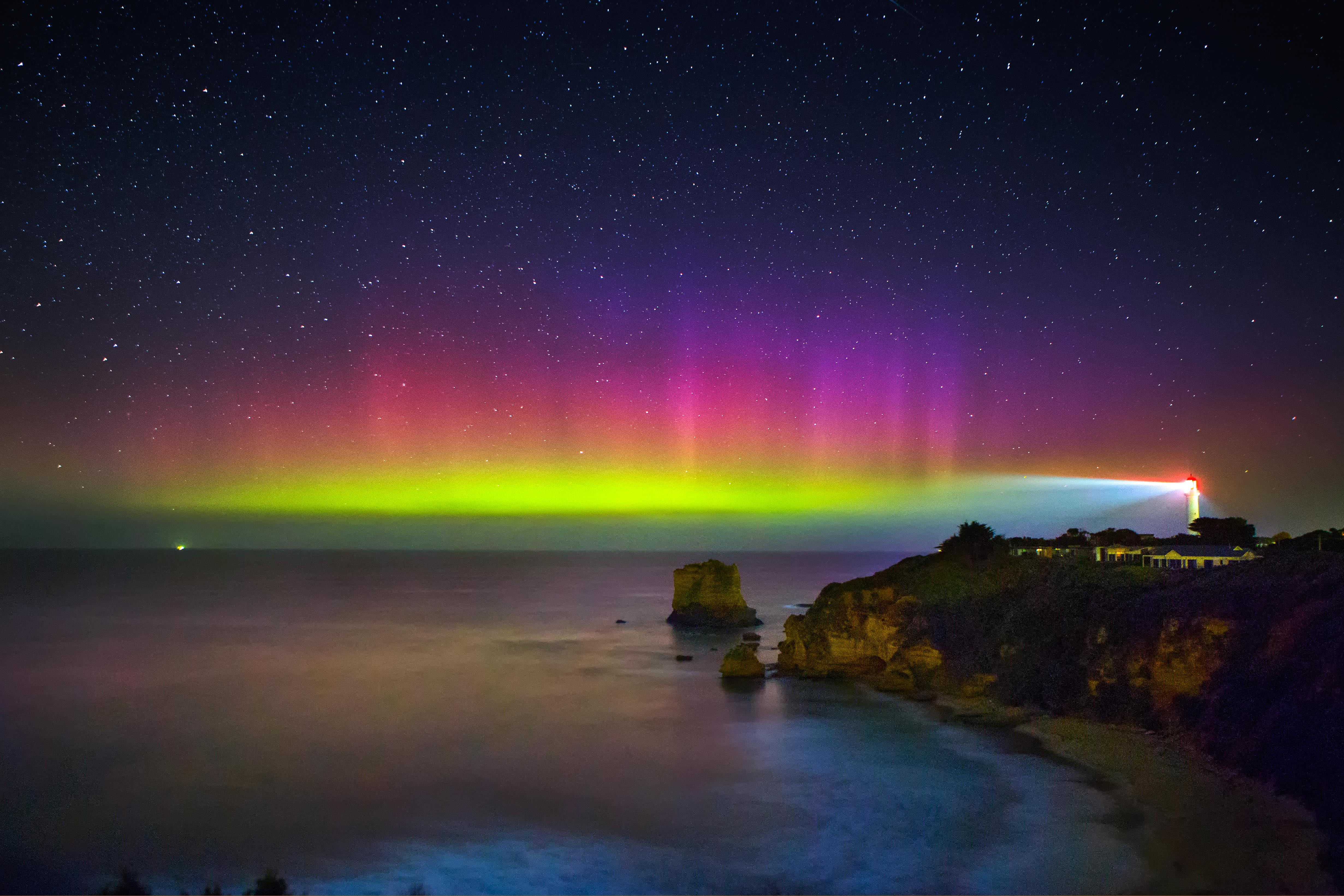Image: The aurora australis at Aireys Inlet, Victoria on 28 March 2017. Credit: Lachlan Manley Photography