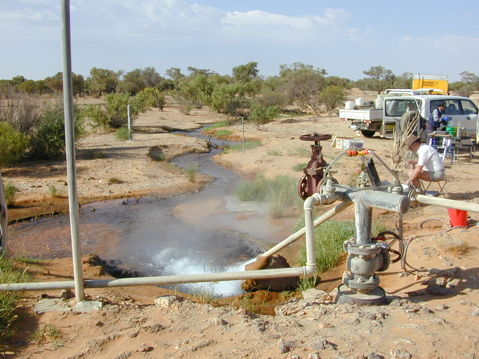Groundwater hydrochemistry sampling on an artesian bore in South Australia. Credit: Geoscience Australia.