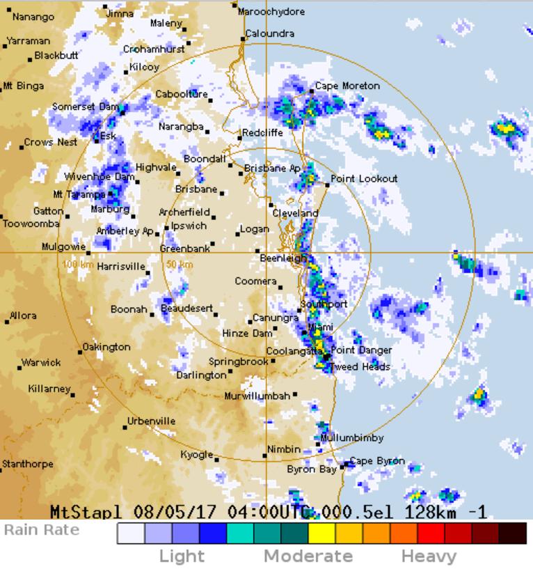 Image: The radar shows where rain has fallen in a 30-minute loop.