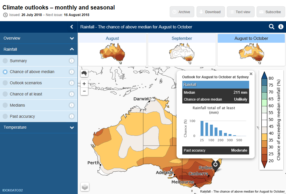 Screen grab from Climate Outlooks website showing chance of above median rainfall