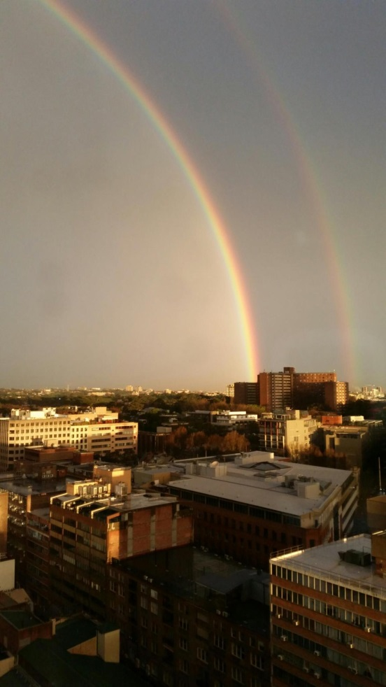 Double rainbow over Sydney, New South Wales, 17 June 2015