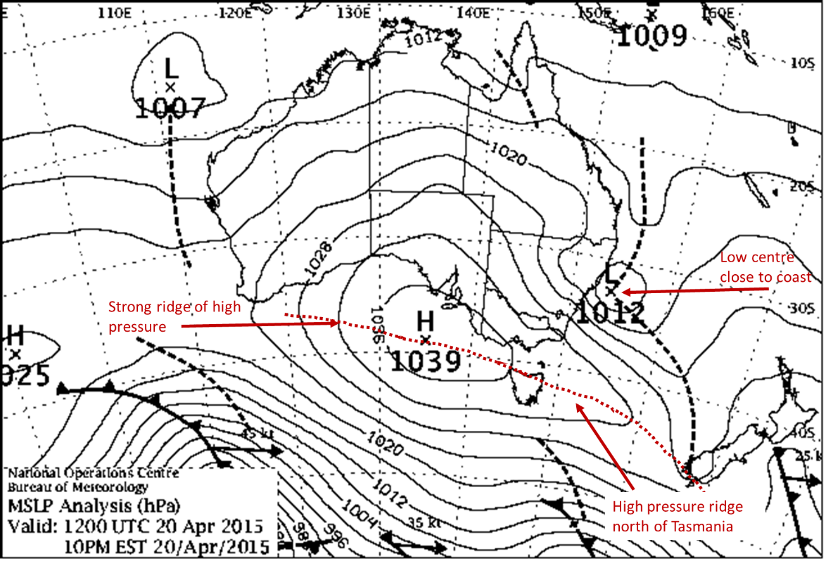 Weather map showing an ECL off NSW and pointing out the strong high pressure ridge across the Great Australian Bight and extending to north of Tasmania.