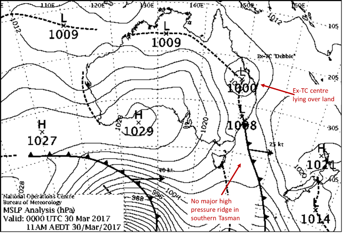 Weather map showing ex-tropical cyclone Debbie over land in Queensland or northern NSW as part of a low pressure trough, and the absence of a high pressure ridge in the southern Tasman Sea