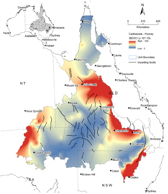Map: Ratio of chlorine-36 to chloride in the Cadna-owie - Hooray Aquifer and equivalents in the Great Artesian Basin. High values, shown in red, can be used to identify recharge areas. Credit: CSIRO and Geoscience Australia, 2013.