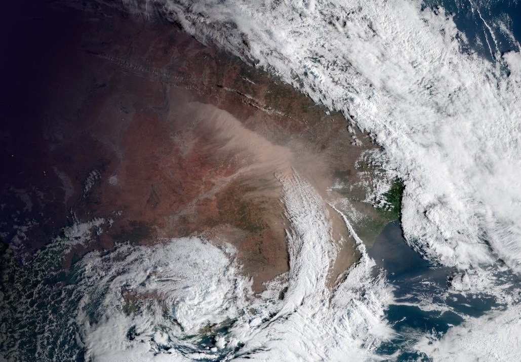 Satellite image of a large dust storm rolling through central New South Wales on 22 November 2018