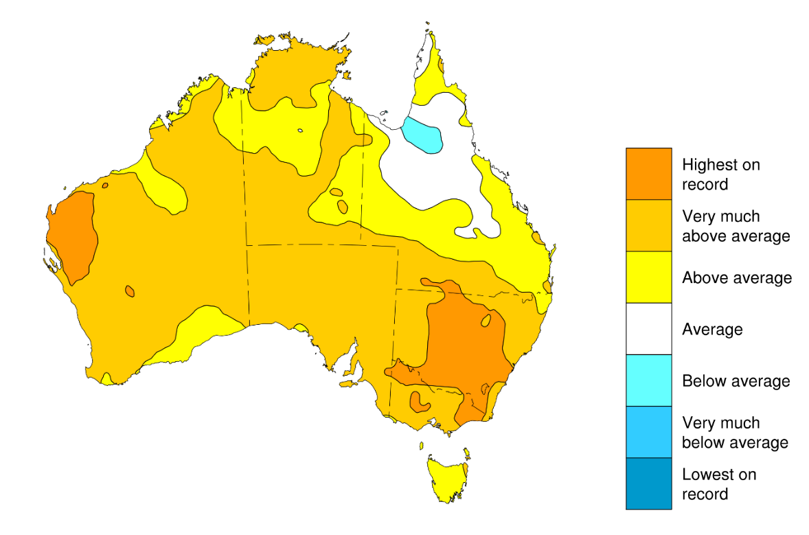 Map showing maximum temperature for August in relation to averages for this time of year.