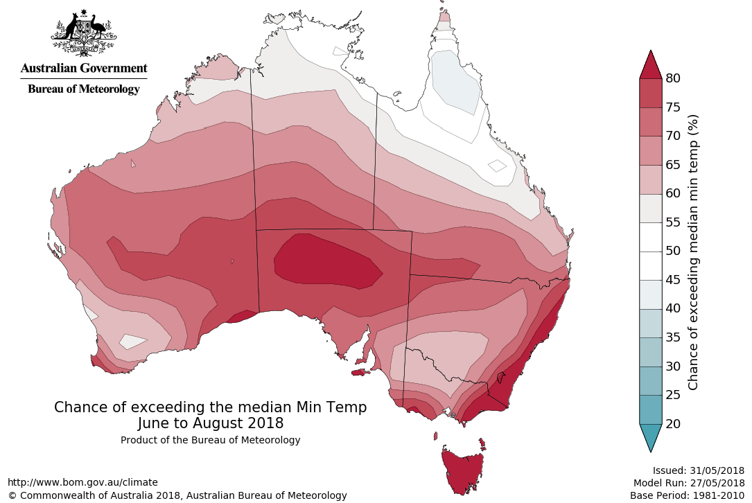 Map showing the chance of exceeding the median minimum temperature June to August 2018.