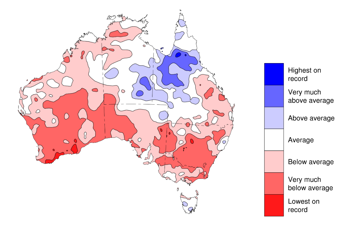 Map illustrating autumn rainfall and its relationship to average rainfall for this time.