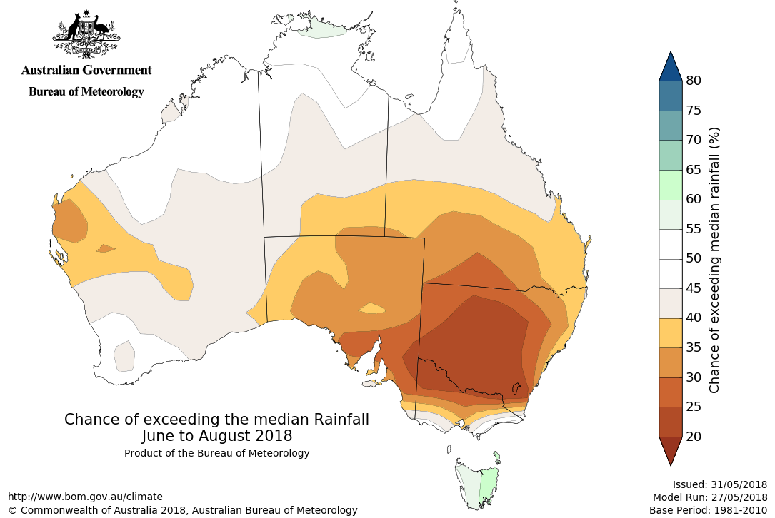 Map showing chance of exceeding median rainfall June to August 2018.