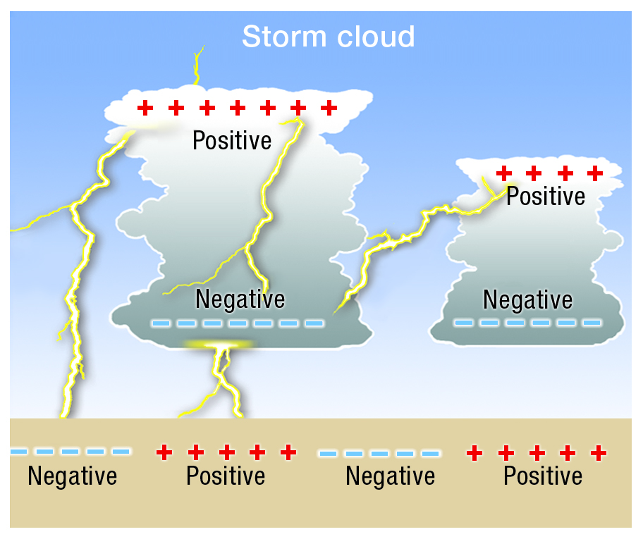 Diagram showing how lightning happens when sufficient positive and negative charge occurs in thunderstorm clouds to cause a discharge.