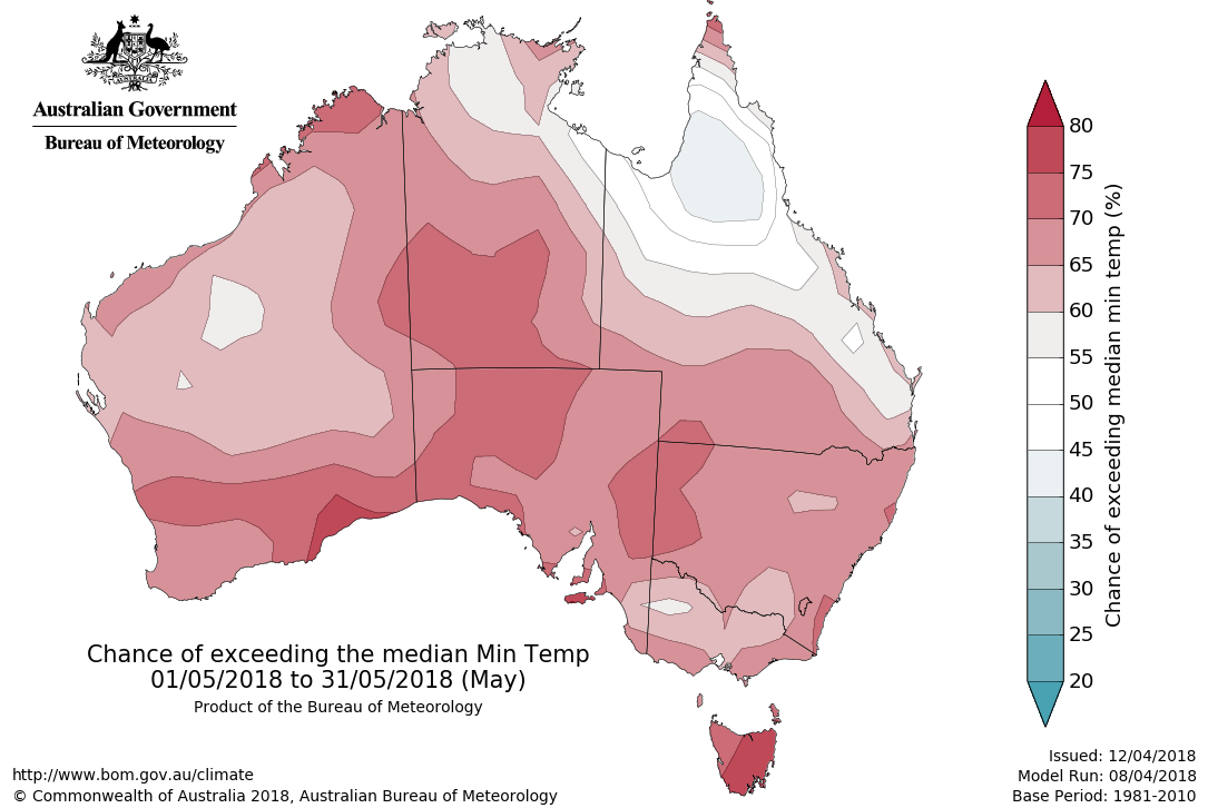 Map showing chance of exceeding median minimum temperature for May 2018
