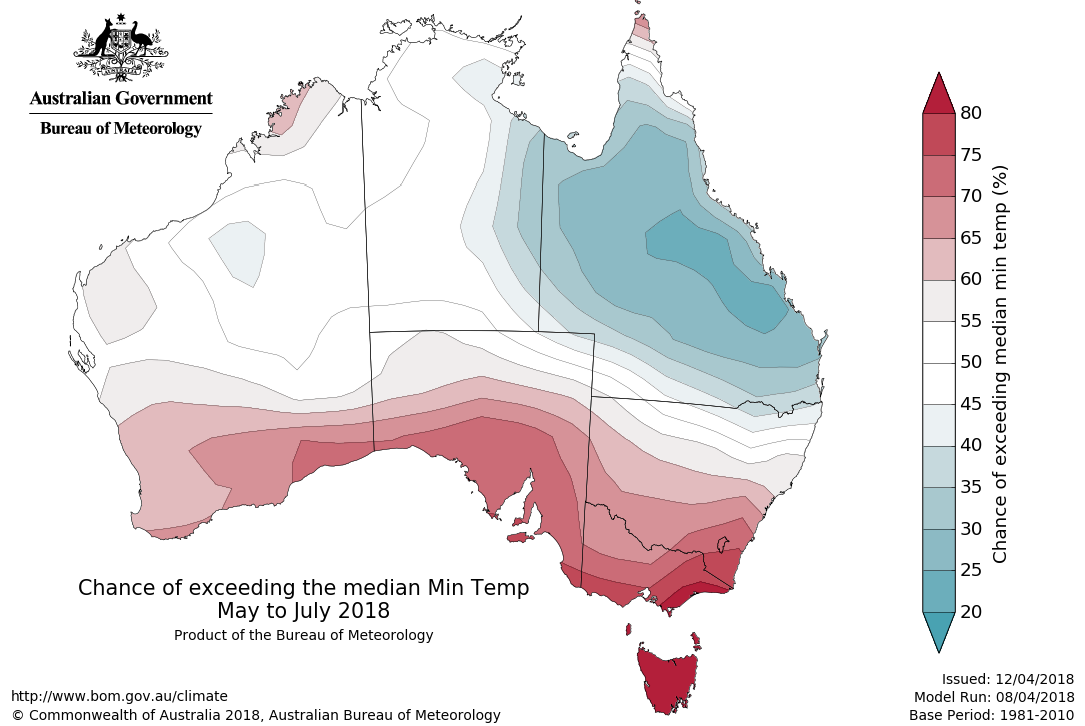Map showing change of exceeding median minimum temperature May 2018