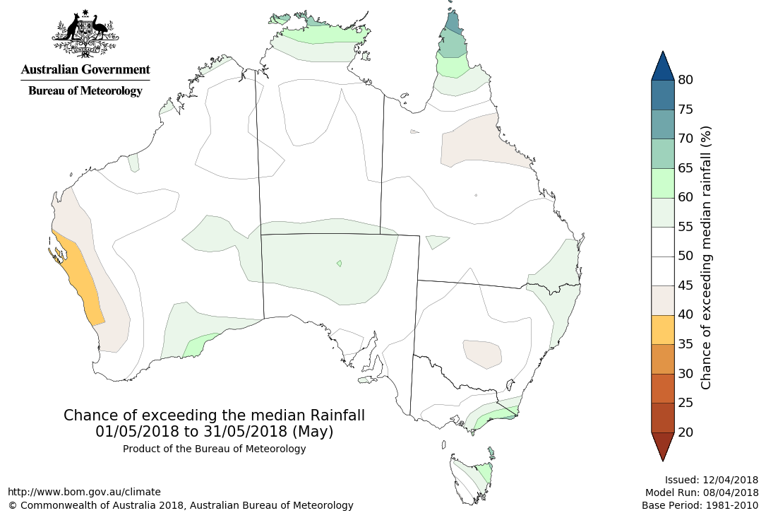 Map showing chance of exceeding median rainfall in May 2018
