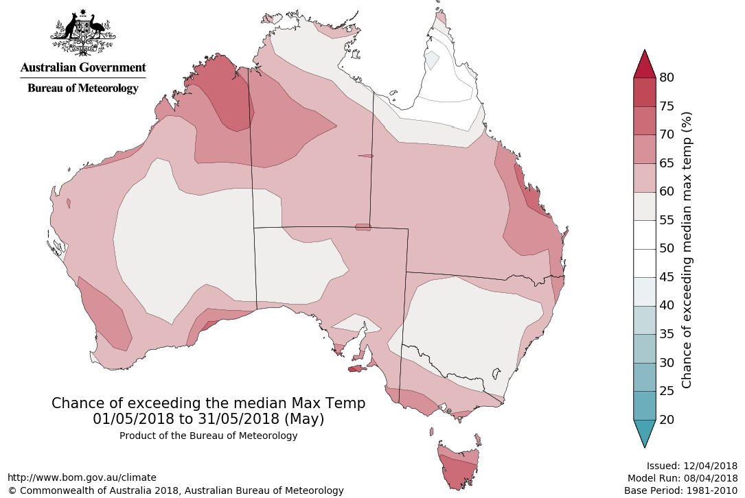 Map showing chance of exceeding median maximum temperature in May 2018