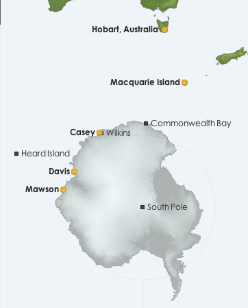 Map: Antarctica showing the research stations where Bureau staff are located. Credit: AAD